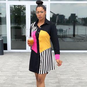 Women Summer Long Sleeve Shirt Streetwear Office Stripe Knee-length Casual Black Button Loose Midi Party Dress 200928