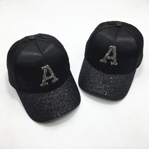 Ins шляпа женская блесток писем бейсбол мужская летняя атласная черная крышка любителей моды береты