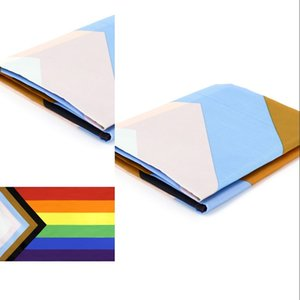 Wholesale 90*150CM Triangle Rainbow Flags Banner Polyester Metal Grommets LGBT Gay Rainbow Progress Pride Flag Decoration DBC BH4589 634 R2