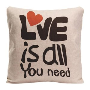 Love Is All You Need Printed Pillowcase Cotton Linen Cushion Cover For Bed Sofa Car Seat Home Decoration By Lvsure Cushion Decorative Pillow