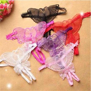 Butterfly Crotchless Lace Micro Women Open Thongs g Strings Transparent Ladies Panties Sexy Underwear Femme Ouvert