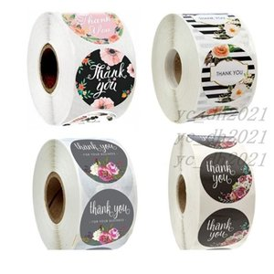 500PCS Roll Floral Thank You Label Stickers 1.5 Inch Handmade Envelope Seals Round Adhesive Festive Decoration For Holiday Presents