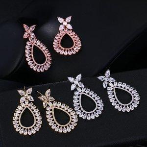 Dangle & Chandelier ORZTOON Elegant Trend Water Drop Zircon Earrings For Women Brass Crystal Exquisite Minimalist Jewelry Wedding Gifts Gues