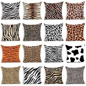 Single-sided Printing Animal Leopard Decorative Pillow Case Super Soft Velvet Black and White Zebra Pattern Cushion Cover Sofa