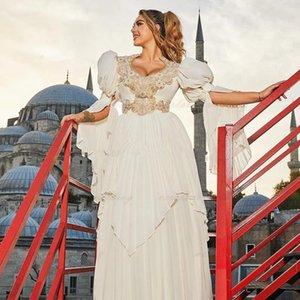 Traditional Kosovo vestidos formales Arabic Wedding Dress Chiffon Sexy Bridal Party Gowns Long Sleeves Robe de Soirée