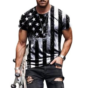 Personalized Printed Designers Men S Clothing T Shirt Fashion Short Sleeve Star Flag Round Neck Pullover