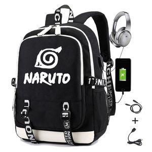 Mochila de Naruto para niños Niñas Chicas Escuela de estudiantes con impresión de carga usb Gaara Sasuke Uchiha portátil Casual Viaje Mochila 210310