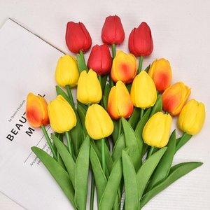 Beaucoup de couleurs PU fleurs décoratives artificielles tulipe bouquet de 34 cm / 13.4 pouce mini fleur tactile réelle rh3251