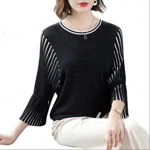 Spring Knit Womens Sweater Top Women Casual Korean Pullover Thin Black Stripes Summer Fashion