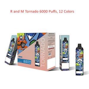 Original R and M Tornado Disposable E Cigarette 6000 Puffs RandM Vape Pen 12 Colors