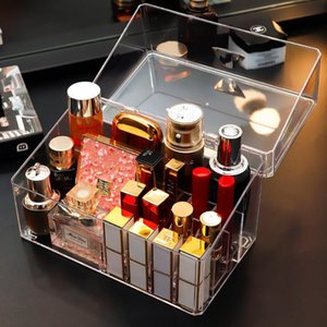 Makeup Organizer Box Cosmetic Brush Storage Case High Transparent Acrylic 15 Grids With Cover Lipstick Eyebrow Pencil Stand Boxes & Bins