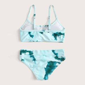 One-Pieces Summer Infant Kids Girls Swimwear Sleeveless Swimsuit Two-piece Vest Set Outfit Swimming Beachwear Bathing Suit Drop