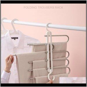 Racks 5 In 1 Rack Adjustable Pants Tie Storage Shelf Foldable Stainless Steel Hanger Shape Multifunctional Clothes Hangers Y6Hnm