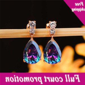 Charm Female Rainbow Water Drop Crystal Rose Gold Wedding Finger Geometric Long Dangle Earrings For Women