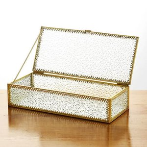 Clear Glass Jewelry Box Makeup Cosmetic Organizer Watch Display Stand Bathroom Storage Earrings Accessories Boxes & Bins