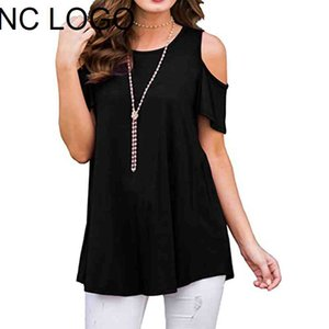 Summer Plus Size Harajuku Off The Shoulder Blouses Women Y2K Clothes Casual Solid Color Basic Short Sleeve O-neck Shirts Tops