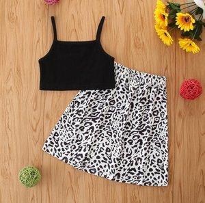 2021 Children Clothing Summer Baby Girl Sets Black Sling Top + Leopard Print Skirt 2-piece Set Kids Clothes