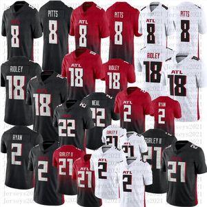 Men football 8 Kyle Pitts 18 Ridley 2 Matt Ryan 21 Todd Gurley II High quality stitched jersey