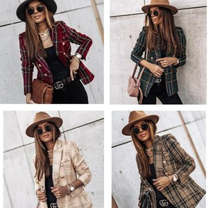 Autumn And Winter Long-sleeved Women Plaid Button Fashion Jacket Slim Office OL Professional Work Plus Size Casual Suit Women's Suits & Blaz