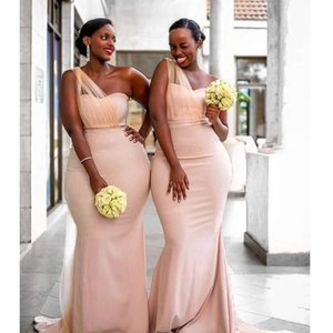 2021 One Shoulder Bridesmaid Dresses Mermaid Customize Plus Size Long Wedding Guest Dress For Women Party African vestidos