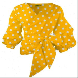 Yellow Blouses with Sashes Front Womens Bow Tie White Print Polka Dot Puff Sleeve Tops for Women Plus