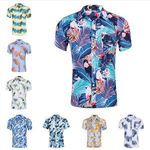 Мужская мода рубашка топы красочные ананасовые шаблон Гавайи пляж отпуск футболка мальчики клена листьев печати Tees 16 стилей