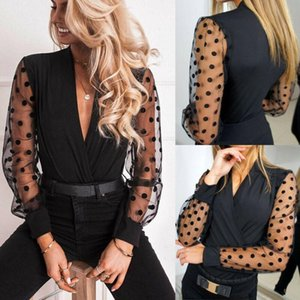 Lady Officewear Shirt Mesh Sleeve Tops Pullover Blouse Casual Jumper Tee Fashion Slim Loose Soft Breathable Summer Women Puff