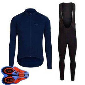Spring / Autum Rapha Team Mens Велоспорт Джерси набор с длинным рукавом рубашки нагрудника Брюки костюм MTB велосипедные наряды гоночный велосипед униформа открытый спортивный одежда ROPA Ciclismo S21042008