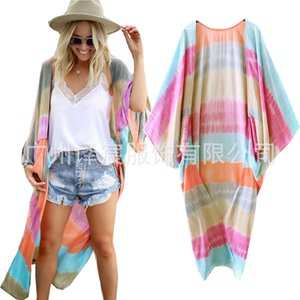 Spring summer print loose length large rayon cardigan sunscreen shawl 89420JAQ