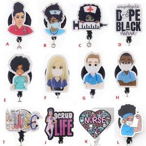 Moda Chave Anéis Personalizado Menina Preta Enfermeira Doutor Acrílico Retrátil Medical Distintivo Suporte Yoyo Pull Carretel Médicos ID Nome do ID para o presente