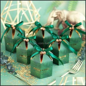 Gift Event Festive Party Supplies Home & Gardengift Wrap Green Candy Box With Ribbon Chocolate Boxes Souvenirs For Guests Wedding Favors And