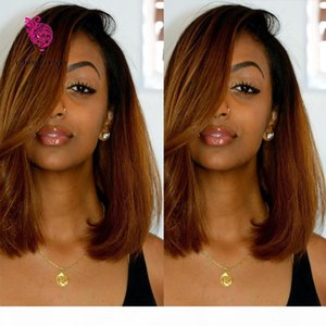 Brazilian Virgin Hair Glueless Full Lace Ombre Wig Bob Style Two Tone 1B 30 Human Hair Bob Wig Lace Front Wigs For Women