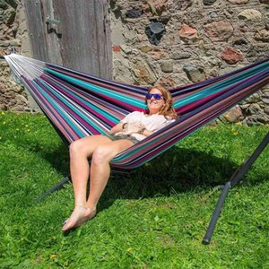 Portable Dual-use Large Chair Hammock Striped Canvas Hammock Outdoor Travel Camping Wooden Swing Chair Hanging Leisure Bed