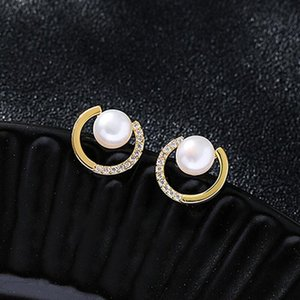 2021 Trendy Round Exquisite Pearl C-shaped Simple Stud Earrings For Women Fashion Crystal Jewelry