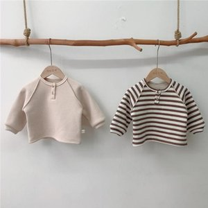 Autumn Winter Baby Girls Fleece Lining Warm Shirts Bottomming Tops Toddler Baby Boys Striped T Shirt Waffle Baby Clothing 210413