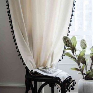 Sheer Curtains Solid Modern White Korea Curtains Black Tassel for Living Room Bedroom Windows Cotton Linen Kitchen Ready Curtain Lj201224