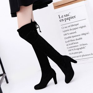 Big size autumn and winter long over knee frosted leather thick high heel boots Brand Men Women Waterproof Sneakers
