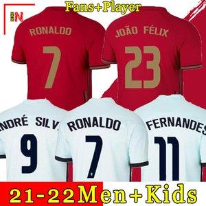 2020 RONALDO soccer jersey Bruno FERNANDES 2021 André Silva poRTUgal Joao Felix PEPE Football soccer shirt men + kids kit sets socks uniforms