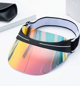 2021 Sıcak Tasarımcı Visor Yaz Moda erkek Ve Kadın Güneş Şapka Son Tasarım Dazzle Renk Şeffaf PVC Güneş Şapka, Yüksek Kaliteli Güneş Şapka