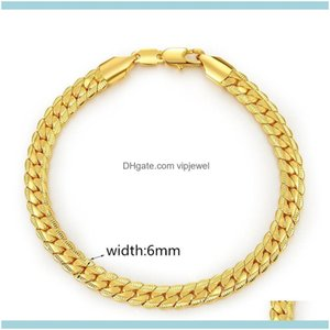 Link, Chain Jewelryfashion 6 Mm*18-21Cm Luxury Mens Plated 18K Gold Bracelets For Men Women Jewelry Couple Bracelet Drop Delivery 2021 L1Htw
