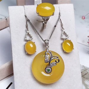 Jadery 925 Sterling Silver Necklace Earrings Ring Round Natural Yellow Topaz Jade Jewelry Sets For Women 2021 Drop Ship Bracelet, Earrings &