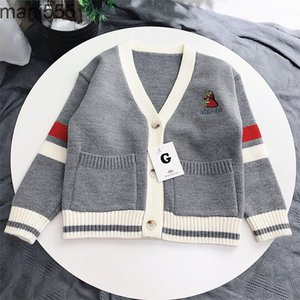 Net red autumn 2021 new wear children's neutral gray knitting college style sweater coat
