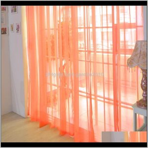 & Drapes Orange Pure Color Tulle Door Window Curtain Drape Panel Sheer Scarf Valances Modern Bedroom Living Room Curtains Ojuts Vdnjx