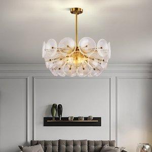 Modern Design Gold Led Chandeliers Lighting Round Glass Chandelier Lamp Living Room Decor Suspension Hanging Light Fixtures