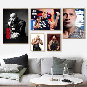 O Rock Dwayne Johnson Movie Ator Wrestler Fitness Art Wall Home Decor em Poster Impressão ou Canvas