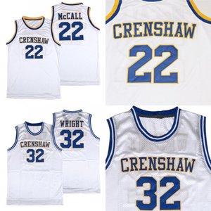 남성용 Crenshaw 고등학교 사랑과 농구 22 Quincy McCall 32 모니카 라이트 저지 스티치