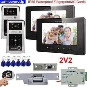 """Video Door Phones Intercoms IP55 Waterproof Fingerprint IC & Code Unlock two 7"""" Color Indoor Monitors + Electric Strike Lock 2 Doors intercom for home"""