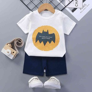 0-6Y Summer Korean Toddler Children Cotton Cartoon Clothes Suit For Baby Girl Boy Kids Short Sleeve Shorts 2-piece Set Clothing X0401