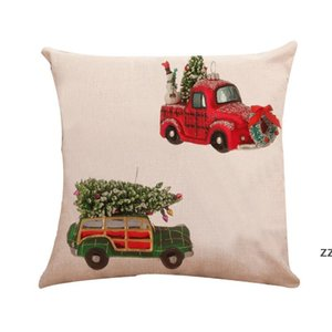 Red Truck xmas Decor Pillow Case Outdoor Christmas Throw Covers 45*45cm for Home Car Office HWF10339
