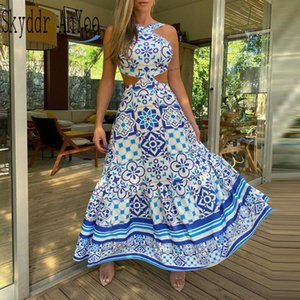 Vintage Printed Dresses Summer 2021 Women Sleeveless Halter Sexy Long Dress A-Line Elegant Woman Pary Casual